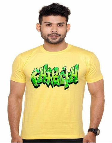 Yellow Color Cotton Polyster Blend Men T-Shirt - image003