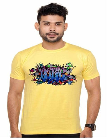Yellow Color Cotton Polyster Blend Men T-Shirt - image005