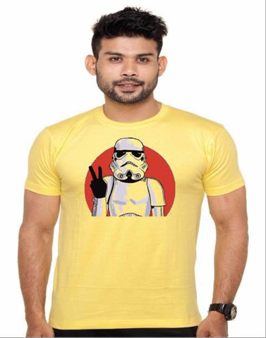 Yellow Color Cotton Polyster Blend Men T-Shirt - image006
