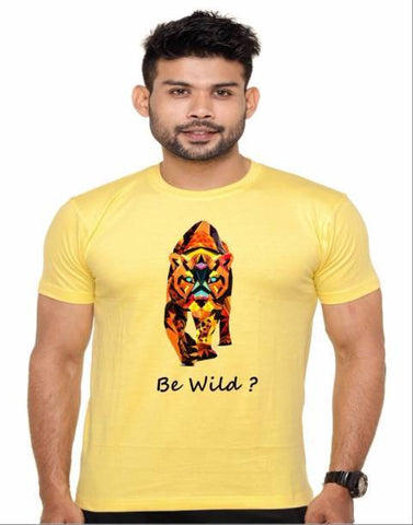 Yellow Color Cotton Polyster Blend Men T-Shirt - image007
