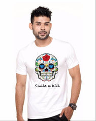 Buy White Color Cotton Polyster Blend Men T-Shirt