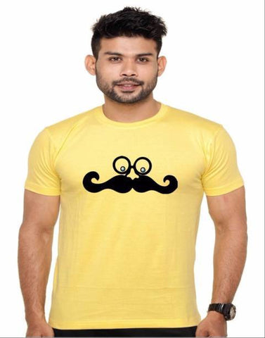 Yellow Color Cotton Polyster Blend Men T-Shirt - image013