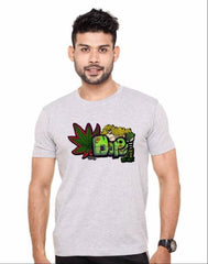 Buy Grey Color Cotton Polyster Blend Men T-Shirt
