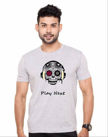 Grey Color Cotton Polyster Blend Men T-Shirt - image020