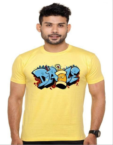 Yellow Color Cotton Polyster Blend Men T-Shirt - image021