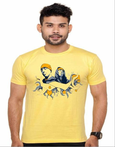 Yellow Color Cotton Polyster Blend Men T-Shirt - image022