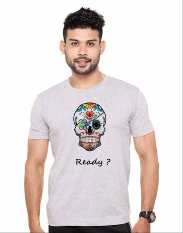 Grey Color Cotton Polyster Blend Men T-Shirt - image025