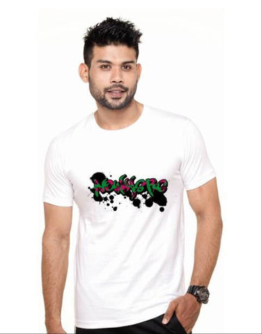 White Color Cotton Polyster Blend Men T-Shirt - image026