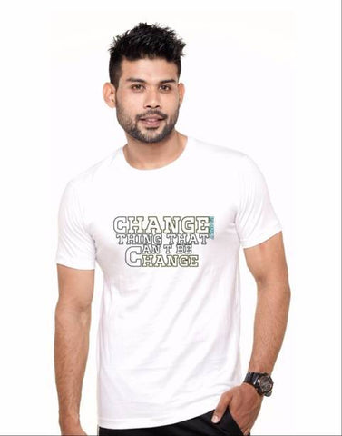 White Color Cotton Polyster Blend Men T-Shirt - image029