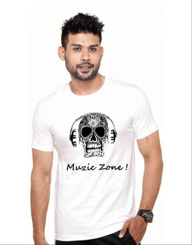 White Color Cotton Polyster Blend Men T-Shirt - image030