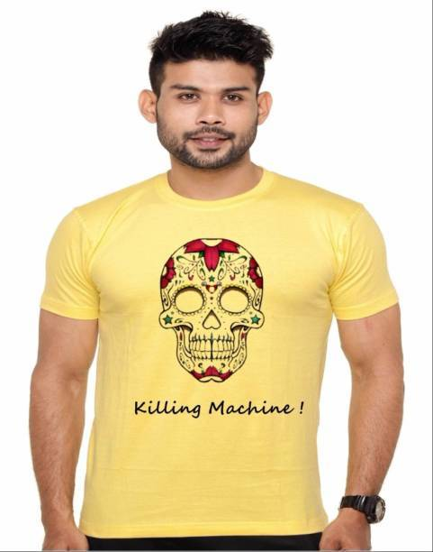 Buy Yellow Color Cotton Polyster Blend Men T-Shirt