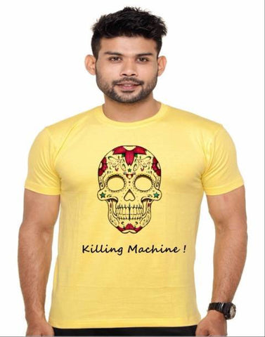 Yellow Color Cotton Polyster Blend Men T-Shirt - image033