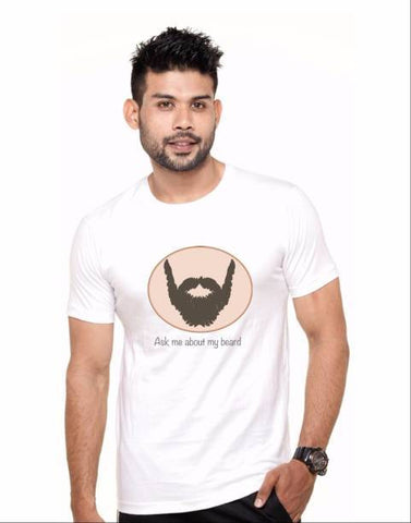 White Color Cotton Polyster Blend Men T-Shirt - image036
