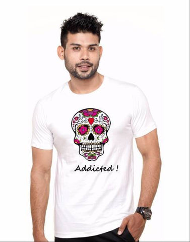 White Color Cotton Polyster Blend Men T-Shirt - image038