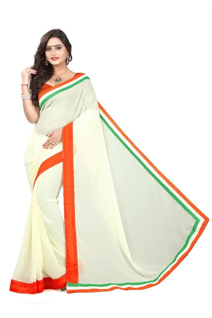 White Color Faux Georgette saree - independence