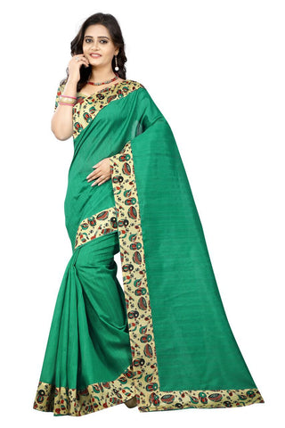 Green Color Bhagalpuri Silk Saree - instruments-green-1