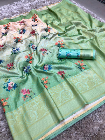 Sky Blue And  Cream Color banarasi Saree - jcs-28