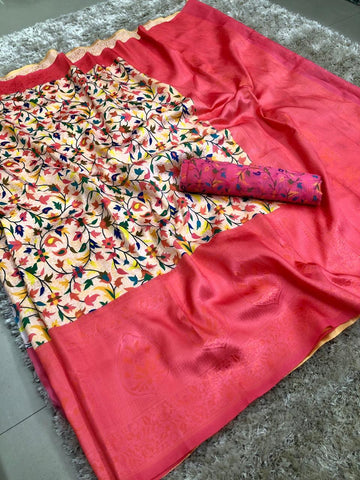 Pink And cream Color banarasi Saree - jcs-38