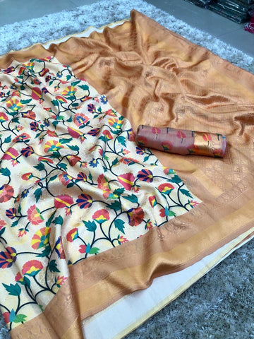 Coffee And White Color banarasi Saree - jcs-48