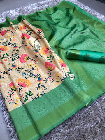 Green And Cream Color banarasi Saree - jcs-58