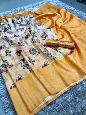 Yellow And White  Color banarasi Saree - jcs-68
