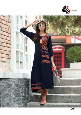Navy Blue And Black Color Rayon Stitched Kurti - jessica-206-1