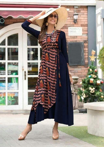 Navy Blue Color Rayon Stitched Kurti - jessica-206