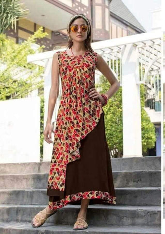 Brown Color Rayon Stitched Kurti - jessica-210