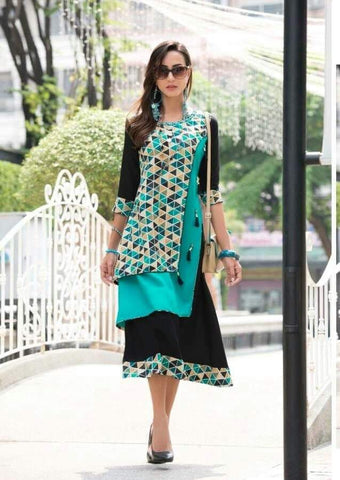 Black Color Rayon Stitched Kurti - jessica203