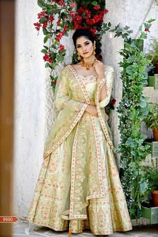 Olive Green Color Malai Satin Unstitched Lehengas - jini-9990