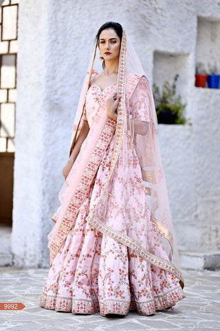 Flamingo Pink Color Chennai Silk Unstitched Lehengas - jini-9992