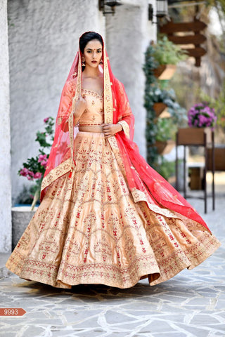 Peach Color Malai Satin Unstitched Lehengas - jini-9993