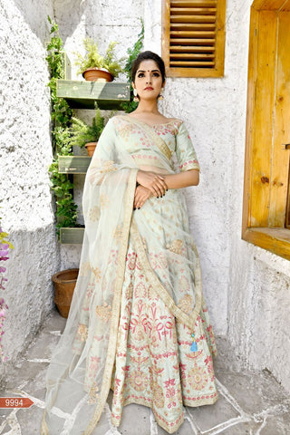 Fern Green Color Goldy Silk Unstitched Lehengas - jini-9994