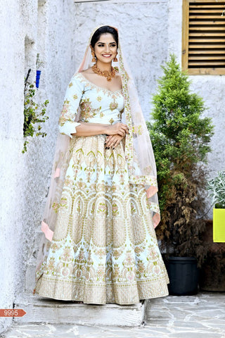 Baby Blue Color Malbari Silk Unstitched Lehengas - jini-9995