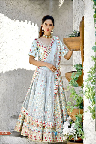 Arctic Blue Color Malai Satin Unstitched Lehenga - jini-9996