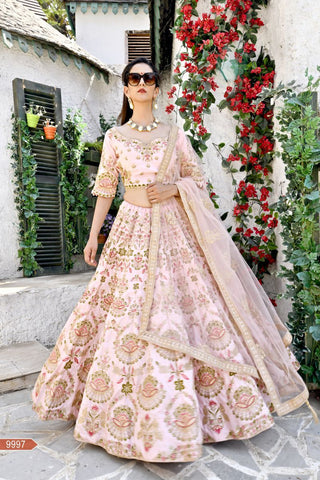 Flamingo Pink Color Chennai Silk Unstitched Lehengas - jini-9997
