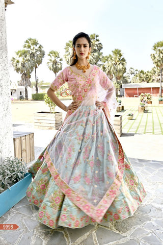 Fern Green Color Bamboo Silk Unstitched Lehengas - jini-9998