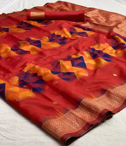 Red Color Banarasi Silk  Saree - jnvs-166