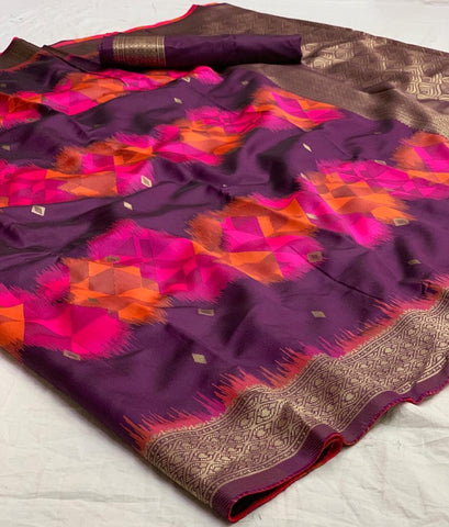Purpal Color Banarasi Silk  Saree - jnvs-266
