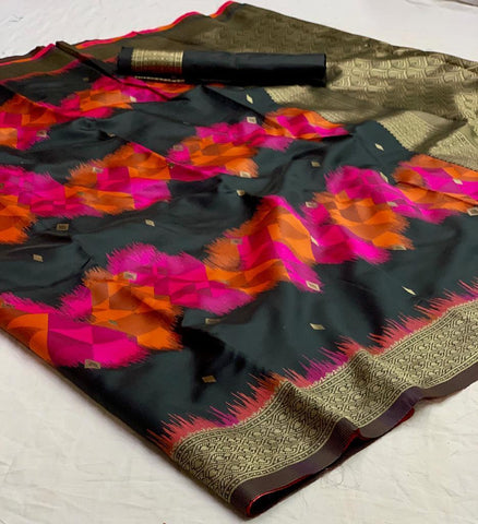 Black Color Banarasi Silk  Saree - jnvs-366