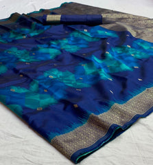 Buy Blue Color Banarasi Silk  Saree