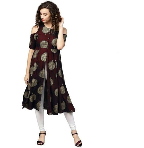 Maroon Color Rayon Women's Stitched Kurti - k-126