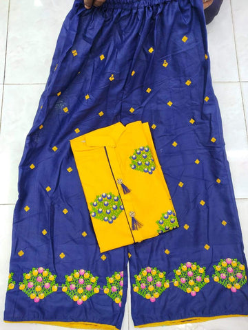 Yellow Blue Color Cotton Women's Semi-Stitched Kurti with Palazzo - k-222