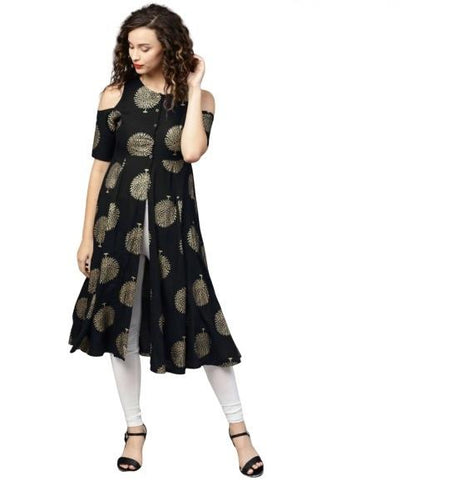 Black Color Rayon Women's Stitched Kurti - k-226