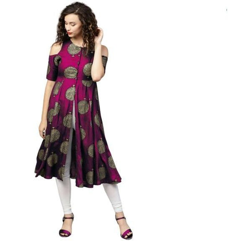 Pink Color Rayon Women's Stitched Kurti - k-326