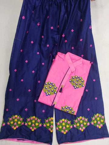 Pink Blue Color Cotton Women's Semi-Stitched Kurti with Palazzo - k-422