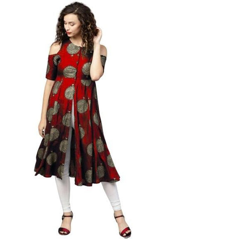 Red Color Rayon Women's Stitched Kurti - k-426