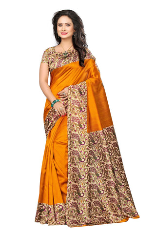 Orange Color Mysure Silk  Saree - k-50