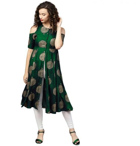 Buy Green Color Rayon Women's Stitched Kurti