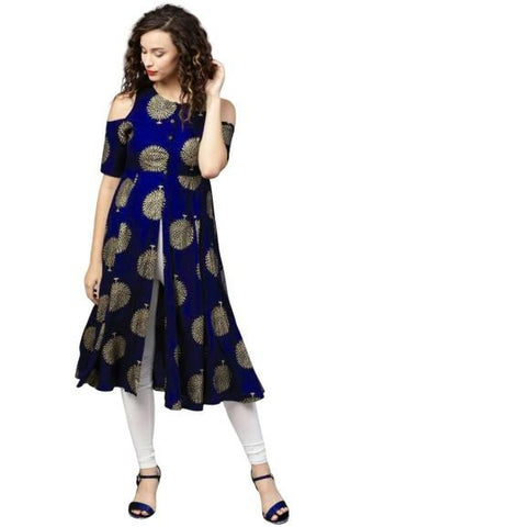 Royal Blue Color Rayon Women's Stitched Kurti - k-726